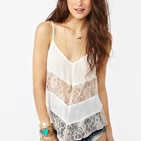 Laced Chiffon Tank - Ivory in  What's New at Nasty Gal