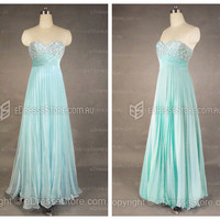 Formal Dresses Online — Sweetheart Chiffon Blue Beading Formal Dresses at Edressestore.com.au