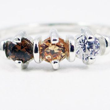 Brown, Champagne, and White CZ Ring Sterling Silver, Cubic Zirconia Ring, Three Stone Ring, 3 Stone Ring, Sterling Silver Ring