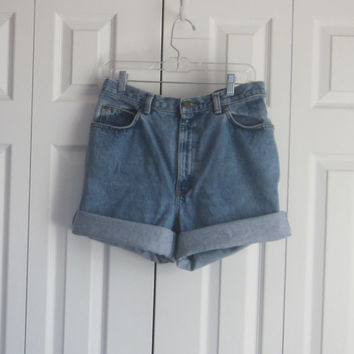 High Waisted Shorts, Cut Off Jean Shorts, High Waist 34, Womens Size 14, Roll Up Denim Shorts, Cut Mom Jeans