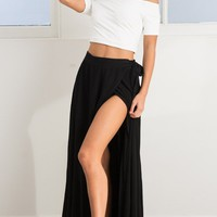 Break A Leg Maxi Skirt in Black Produced By SHOWPO
