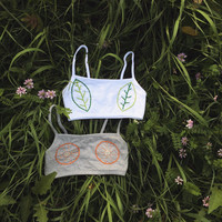 Embroidered leaf or fruit bralette