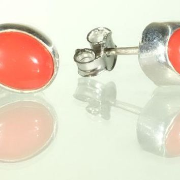Oval Sterling Silver Red Coral Stud Earrings