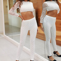 Hot style mesh stitching poly-dot jacket and trousers two-piece set