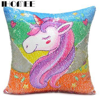 IHOMEE Sequins Unicorn Cushion Cover 40*40 Decorative Mermaid Pillows For Sofa Reversible Pillowcase Home Decor Drop Shipping