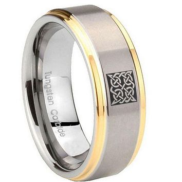 10MM Step Edges Square Celtic 14K Gold IP Tungsten Two Tone Men's Ring