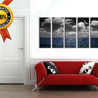 Storm in Ocean and Moon Canvas Art, Prints For Wall, 5 Panels Framed Ready to Hang, Ocean  Prints On Canvas, 100% Quality Prints