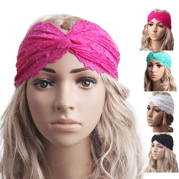 Best Deal Fashion Women Headwear Twist Sport Yoga Lace Headband Turban Headscarf Wrap 1pcs = 1933275140