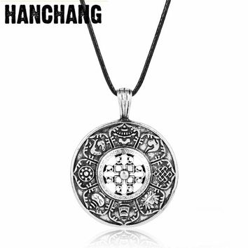 HANCHANG Coin Jewelry Viking Slavic Amulet Necklace Etemity Knot Love Pendant Necklace For Men Chain Necklace Colar