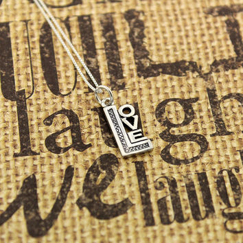 Love Necklace sterling silver Love Pendant charm necklace with 925 Sterling Silver Chain (C-23)