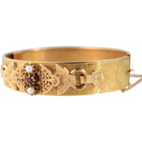 Elegant Victorian 18K solid gold hinged cuff with pearls and one ruby, French stamped gold bangle, hinged cuff, hallmarked