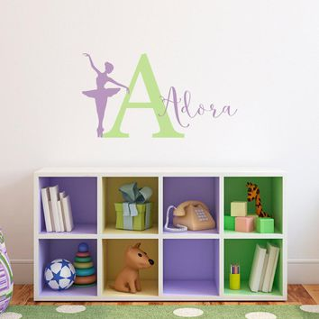 Ballerina Decal Set with Initial and Name - Personalized Name Wall Decal - Ballerina Girl Bedroom Decor - Medium
