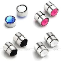 Pair Stainless Steel Fake Magnetic Crystal Nose Ear Lip Rings Studs Non Piercing