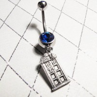 Police Box Navel Belly Button Ring inspired by Dr Who and the TARDIS