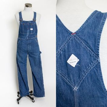 "Vintage 1970s Overalls - Big Mac Indigo Denim 70s Workwear 30""x31"" Medium"