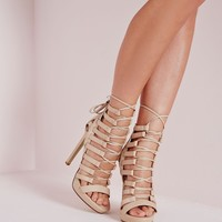 Missguided - Platform Lace Up Heels Nude