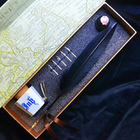Black Feather Quill Quill Dip Pen,Sterling Metal Nib Pen Holder with Ink Jar
