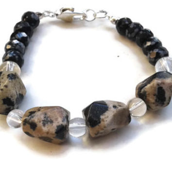 """Dalmatian Jasper and Snowflake Obsidian Bracelet with Clear Glass Beads and Lobster Claw Clasp - 7"""" - BRC099"""