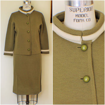 Vintage 1960s Olive Knit Suit / 60s 2 Piece Suit / 1960s Mirsa Bullocks Suit / New Old Stock / NOS / Italian Vintage Work Clothes / Mod Suit