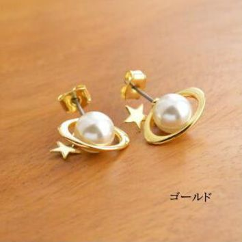 Timlee E062  Free shipping Cute Planet Saturn Star Imitation Pearl Stud Earrings