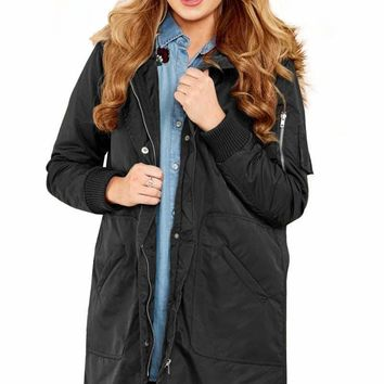Black Fur Trim Hooded Longline Coat