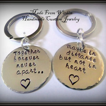 Long Distance Relationship Keychain Set- Together Forever, Never Apart
