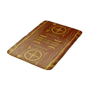 Golden Brown African Symbols Texture Bath Mat