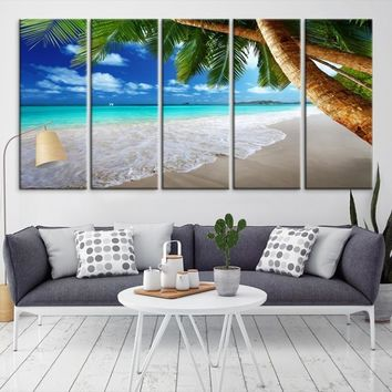38351 - Extra Large Wall Art Beach Canvas Print - The Waves on Beach and Palm Tree