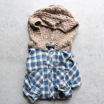 boyfriend plaid flannel shirt with knit hood - blue