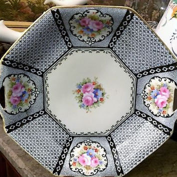 c1921 Rare Morimura Brothers Porcelain Nippon Double Handled Rose & Black Plate