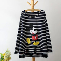 Stripe Mickey Mouse Print Sweater