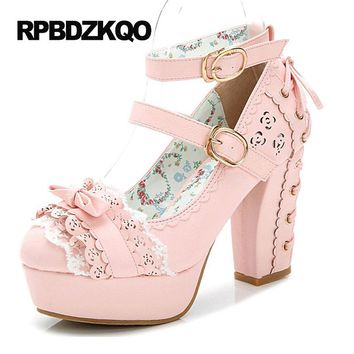 Kawaii White Pink Platform Nude Cute Block Bow Lace Up Japanese a12f6d5a0efd