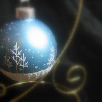 Powder Blue Hand Painted Glass Christmas Ornament - Aspen Snow Scene with Snow falling, Great Gift