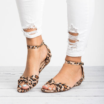 Knotted Peep Toe Wedge Sandals - Leopard