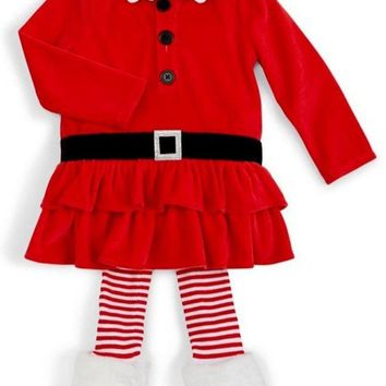 Mud Pie-Santa Tunic-Legging Set,Red