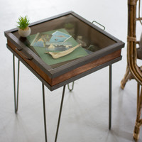 Recycled Wood And Iron Showcase Table With Glass Top