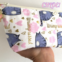 Secret Life of Pets- Chloe, Small Cosmetic Bag, Small Makeup Bag, Cat Makeup Bag, Cat Zipper Pouch, Cat Pouch, Cat Zipper Bag