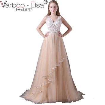 VARBOO_ELSA Champagne Tulle Evening Dresses Sexy Backless V-neck Long Prom Dress 2017 Appliques Beaded Homecoming Dresses Custom