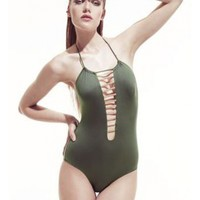 Nylon one piece swimsuit with racer style & front cutouts - Eve by Norma By MK