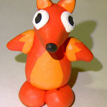 Polymer Clay Collectible Red Fox handmade figurine One of a Kind