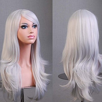 Womens/Ladies 70cm Silver White Color Long CURLY Cosplay/Costume/Anime/Party/Bangs Full Sexy Wig (70cm,Curly,Silver White)