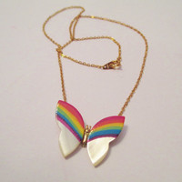 Vintage 80's Mother of Pearl Rainbow Butterfly Necklace DEADSTOCK