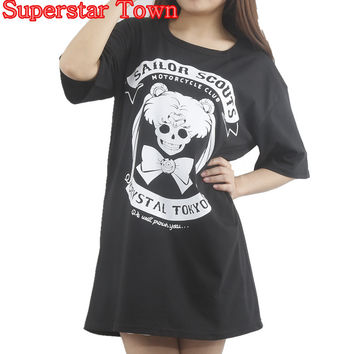 Harajuku Shirt Anime Sailor Moon Gothic T-shirt Lolita Tops Tee Cute Kawaii Clothing Punk T Shirt Cotton Blusa Peplum Tops