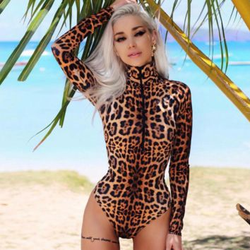 New fashion long sleeve zipper one piece bikini leopard print swimsuit