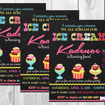 Ice Cream Party Birthday Invitation/Sundae Party/Summer Party Invitations/Summer Birthday/Ice Cream Birthday/Digital/Printables