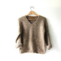 vintage speckled brown sweater. modern pullover. Cropped cozy sweater. Peruvian sweater.