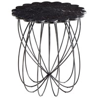 Layla Whimsical Iron & Marble Round Scalloped Accent Table by Cyan Design