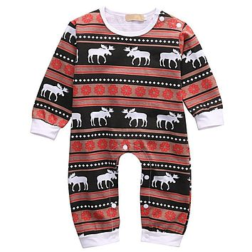 Newborn Infant Baby Girl Boys Romper Deer Sleepwear Christmas Pajamas Outfits Costume