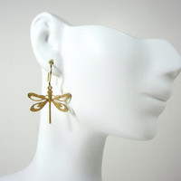 Handmade jewelry-Dragonfly dangle earrings, gold, unique lightweight earrings for women, girls, bridesmaids gift .. agiftoflaughter tagt