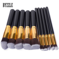 Professional 10 Pcs Makeup Brush Set Cosmetics Foundation Blending Blush Makeup Tool Powder Eyeshadow Cosmetic Set